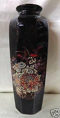 "Gorgeous Antique Floral Vase w/ Nice Light Green Flower Designs- 11"" Tall JAPAN"