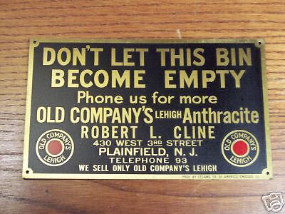 ANTIQUE BRASS COAL SIGN.AROUND 75 YEARS OLD