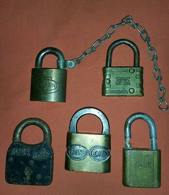 Lot of 5 Antique Vintage Pad Locks Yale Bulls Eye Corbin Sure Grip Steampunk (#A