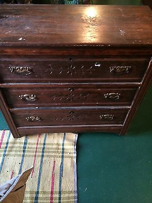 Antique Victorian Spoon Carved 3 Drawer Chest W/Original Pulls