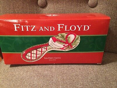 Fitz & Floyd Southern Santa Spoon Rest, New In Box,hand Crafted/Hand Painted