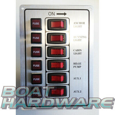 Silver 6 Gang Switch Panel 12V Vertical Mount for Boat Yacht