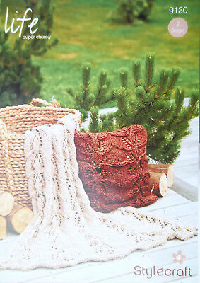 Stylecraft Super Chunky Throw and Cushion Knitting pattern  2 designs 9130