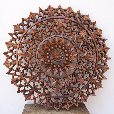 19in Wood Relief Panel Wall Sculpture hand carved Lotus FLOWER Bali Indonesia