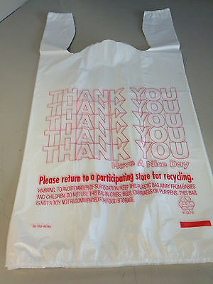 200ct Large 1/6 Thank You T-shirt Plastic Grocery Shopping Bags With Handle