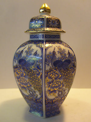 ANTIQUE WHITE & BLUE & GOLD CHINA COVER VASE SUDO with peacock HEXAGON