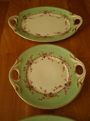 ENSEMBLE 3 PLATS SERVICE PORCELAINE PEINTE ANCIENNE DECO ART TABLE XIX°s TBE