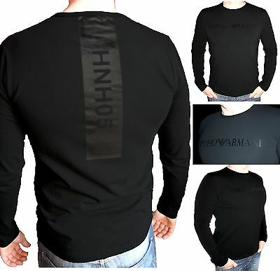 EMPORIO ARMANI Men's Longsleeve cotton T-shirt in Black 05- Size M L XL