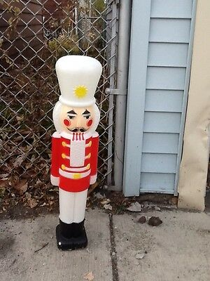 "ONE Red Nutcracker 30"" Soldier Christmas Blow Mold Plastic Lighted Decoration"