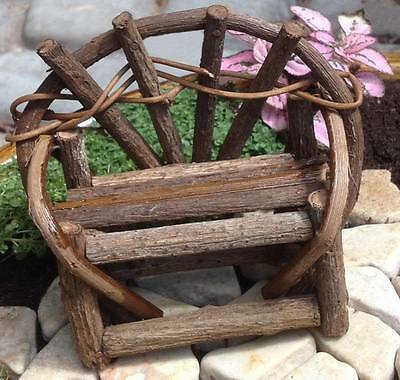Miniature Fairy Garden Rustic Vine Bench Dollhouse Furniture Double Bench NEW