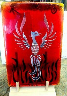 Stained Glass Dalle De Verre Finished Pheonix 12L x 8 W Red + Gold glass New