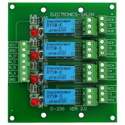 Four DPDT Signal Relay Module Board.