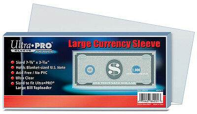 ULTRA PRO - Large Banknote Sleeves 190mm x 80mm pack of 100. Free shipping!