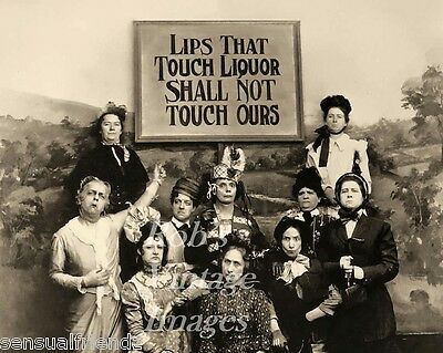 Lips that Touch Liquor Prohibition Temperance Women's Lib Vintage photo poster