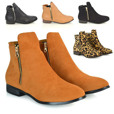 Womens Chelsea Boots Flat Low Heel Ladies Biker Zip Deco Ankle Booties Shoes 3-8
