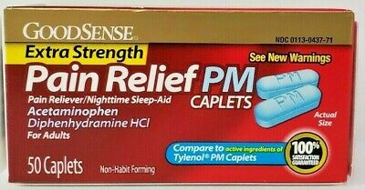 GoodSense Extra Strength Acetaminophen PM Caplets (Tylenol PM) 500mg 50ct
