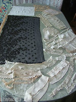 ANTIQUE LACE LOT COLLAR TATTED CHERUBS FILET black CHANTILLY DOLL DRESS TRIM