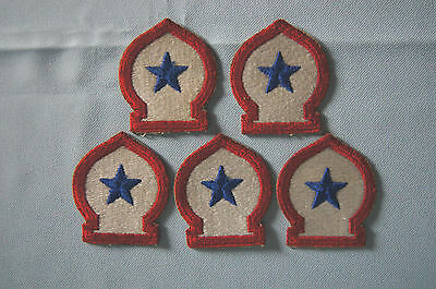 Lot of 5 US Army red white blue star patches badges WWII military EUC