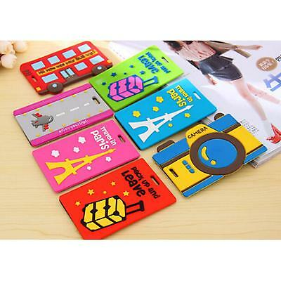 Durable Cute Travel Luggage Baggage Backpack ID Tag Holder Name Tag PVC