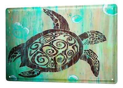 """Fun Tin Sign Wall Decoration Turtle bubbles Metal Plate 8X12"""""""