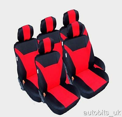 Red 5X Fabric Full Set Seat Covers For 5 Seater  Vw Touran