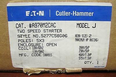 EATON CUTLER HAMMER A970M2CAC Size 2 Two Speed Starter 110 120V Coil 5277C58G06