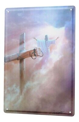 Tin Sign Church Jesus Cross Assumption Metal Plate 8X12""