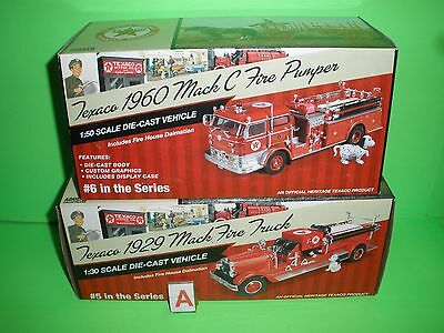 2014 Texaco #5 1929 Mack Cp7154 & #6 1960 Mack C Fire Pumper Cp7157 Mib New A