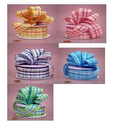 1 1/2 inch wide Bright Plaids Grosgrain Ribbon select color- selling by the yard