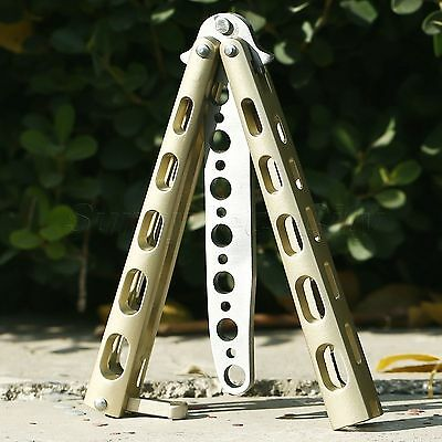 1x Practice Steel Metal BALISONG Butterfly Trainer Tool Dull Training Knife Gold