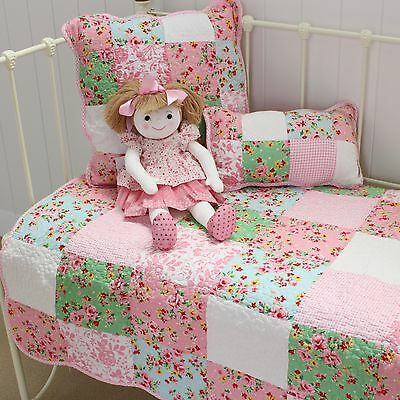 Shabby Chic Girls Baby Alice Cot Quilt Nursery Vintage Style Patchwork Floral