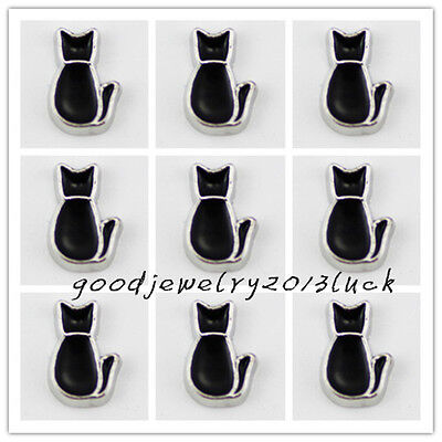 ~10pcs Black cat Floating Charms for Glass Memory Locket necklace e1732