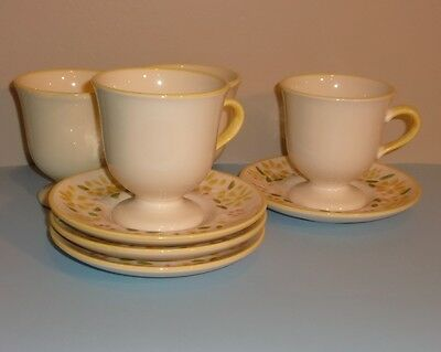 Franciscan Stoneware - Footed Cup and Saucers - FOUR - Daisy Wreath - Yellow