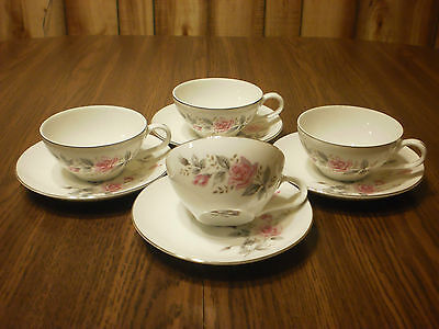 4 Castle Court Fine China Rose Glow Japan Cups & Saucers