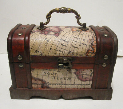 Antique Vintage Style Old World Map Wooden Storage Trunk / Box SMALL / MED