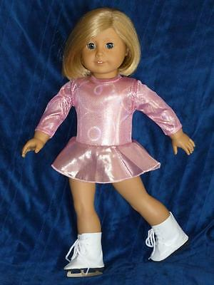 """FITS 18"""" American Girl Doll Pink Figure Ice Skating Outfit Set 3 PC FREE MUFFS"""
