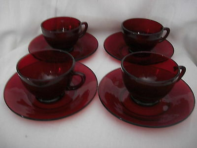 Lot of 4 Sets Royal Ruby Red Glass Cups & Saucers