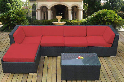 Ohana Outdoor Patio Wicker  Sectional Furniture 6pc Red