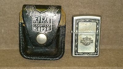 Harley Davidson Zippo Barbed Wire Lighter 02 U.S.A. with Leather Belt Case