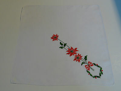 vintage hankie handkerchief hanky quilt fabric holiday poinsettia h547