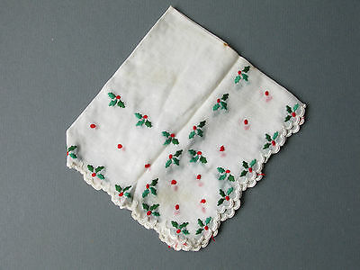 Vintage Estate Handkerchief CHRISTMAS HANKY~ Embroidered Holly Design All Over