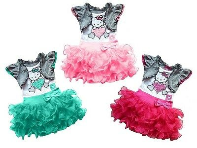 New 2015 Girl Dresses hello kitty Princess Dresses baby tutu dress Free Shipping