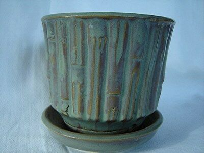 McCOY GREEN AND BROWN BAMBOO FLOWER POT PLANTER - 4 INCH - NICE!