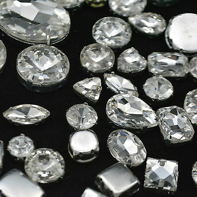 Mixed Shapes Sizes Crystal Clear Rhinestone Settings Sew On Crystals Glass 500ps
