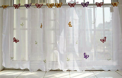 Pair Beautiful 3D Butterfly Embroidery Chic Tape Sheer Cafe Curtain 60CM