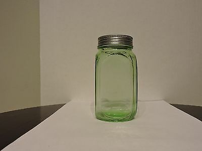 COLLECTIBLE GREEN DRY GOODS STORAGE BOTTLE WITH TIN SCREW TOP