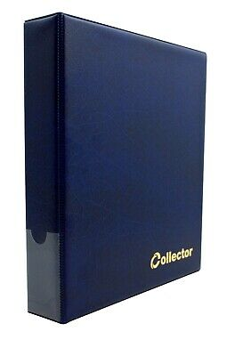 Collector Coin Album IN CASE - THICK for 200 Medium Coins 50p £1 £2 €1 €2 BLUE