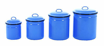 """ENAMELWARE CANISTER SET-SET OF 4, FRENCH BLUE-LARGE IS 8.5""""H"""