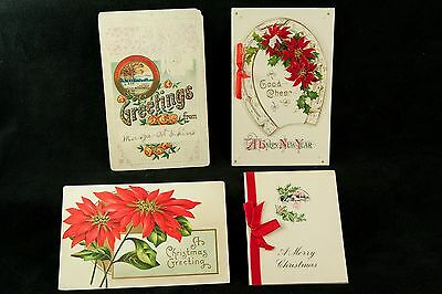 Antique Greeting Card Lot of 7, Christmas, New Years, Birthday, Germany - 1910s
