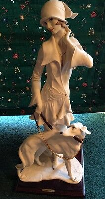 VINTAGE GIUSEPPE G ARMANI FIGURINE LADY W/ DOGS SCULPTURE 1992 FLORENCE ITALY
